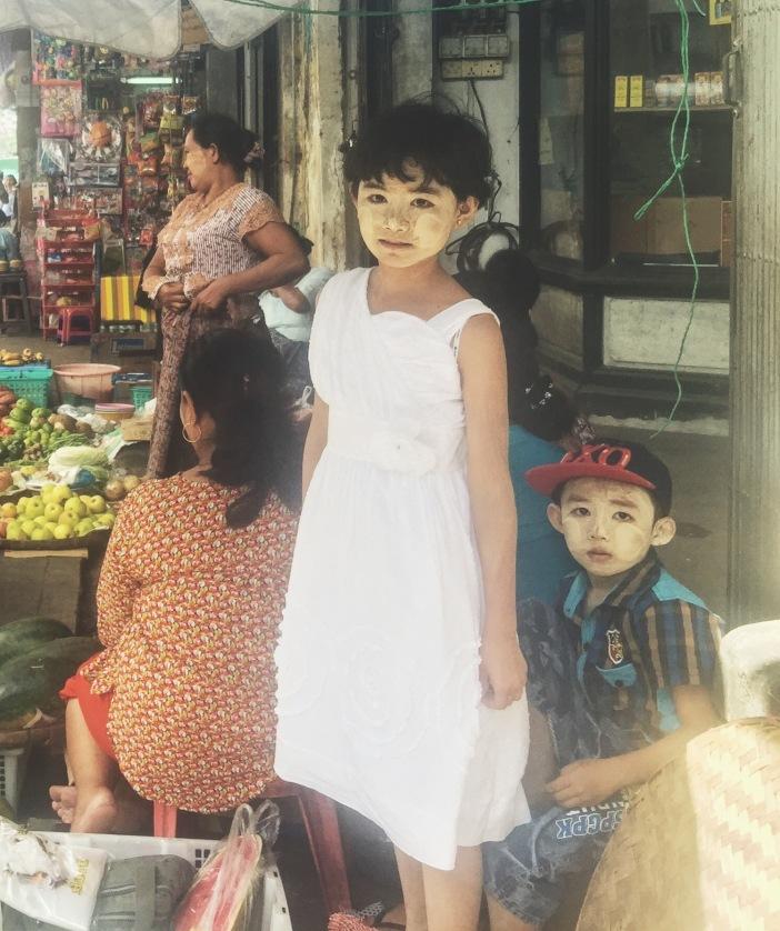 Young girl and boy with Thanaka