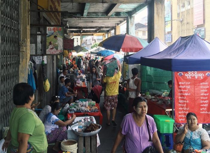 Busy street in downtown Yangon, Myanmar