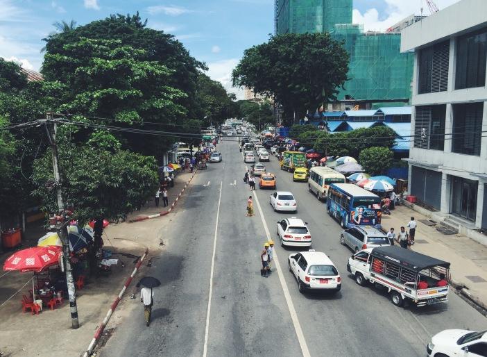 Street in downtown Yangon, Myanmar