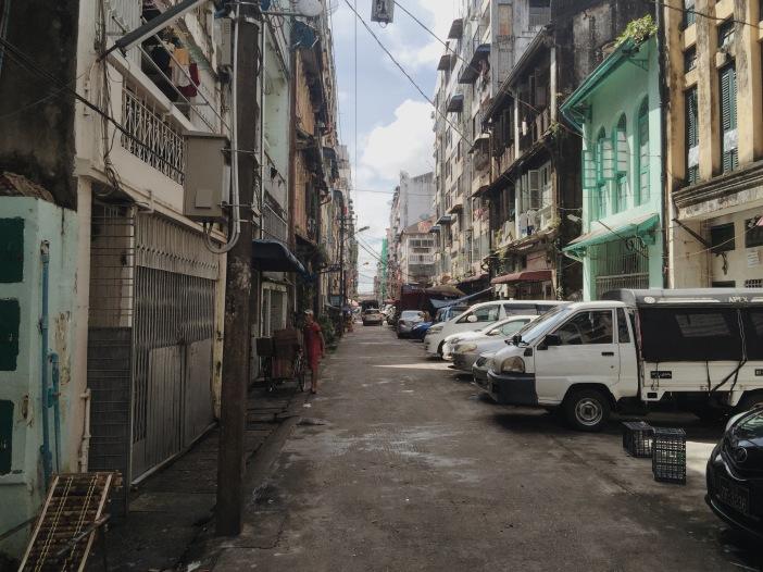 Quiet street in downtown Yangon, Myanmar