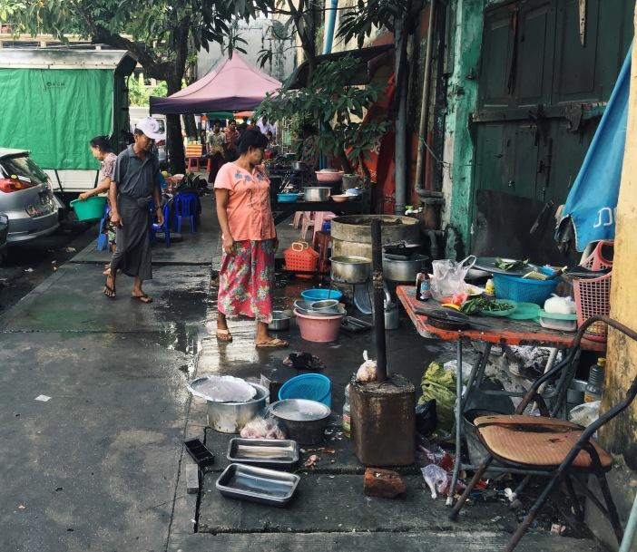 Street cocking in downtown Yangon, Myanmar