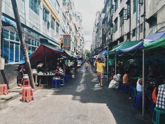 Street with food in downtown Yangon, Myanmar
